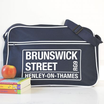 Personalised French Navy Street Name Shoulder Bag